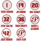 Retired Phillies Pinstripe Jersey Baseball Vinyl Decals (8 Sticker Sheet)