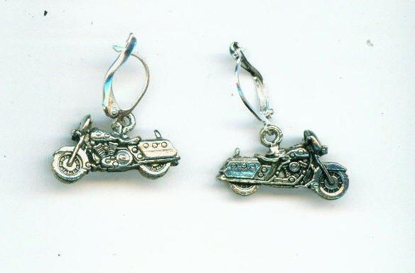 Silver Motorcycle Earring