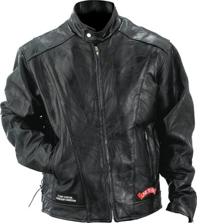 L Diamond Plate Buffalo Leather Motorcycle Jacket