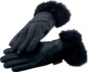 M Leather Gloves w/Rabbit Fur Trim