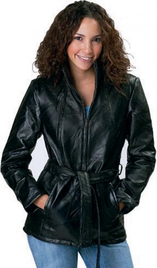 M Ladies Leather Coat