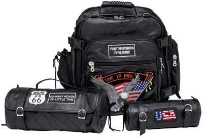 3PC Buffalo Leather Motorcycle Bag Set