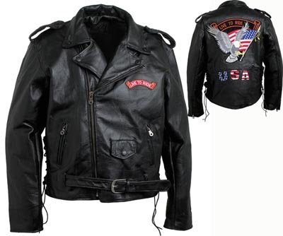 XL Men's Cowgrain Leather Motorcycle Jacket