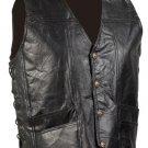 XXL Men's Cowhide Leather Biker Vest