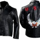 L Patch Cowhide Leather Jacket