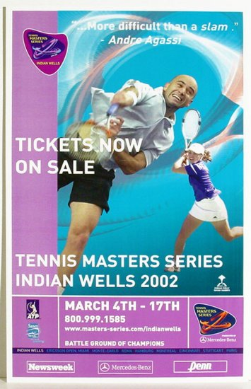ANDRE AGASSI Martina HINGIS Tennis Poster 2002 NEWSWEEK Indian Wells FREE SHIPPING