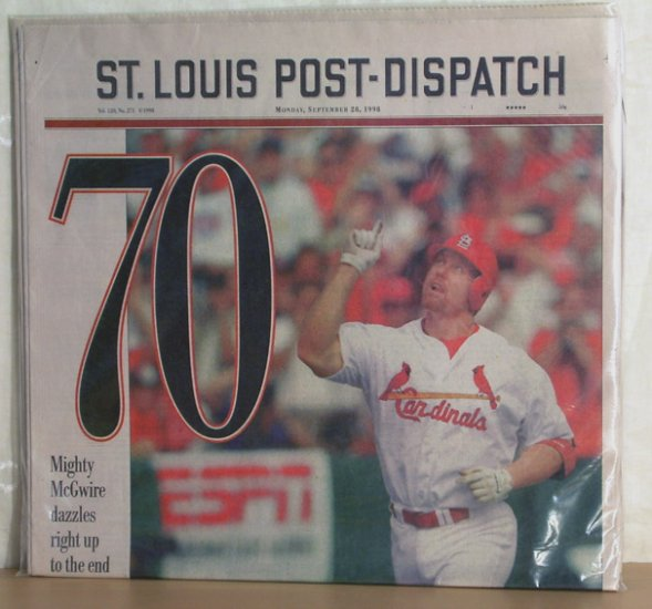 Mark McGwire 70 St. Louis Post-Dispatch Sept. 28, 1998 FREE SHIPPING