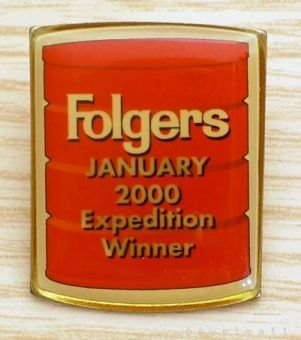 FOLGERS Coffee January 2000 Expedition Winner Pin RARE Free Shipping
