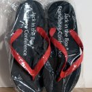 Jack In The Box Black FLIP FLOPS Thongs Size LG 9 - 11½ FREE SHIPPING
