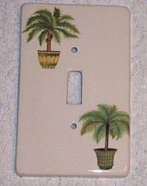 TROPICAL PALM PLANT CERAMIC SINGLE SWITCHPLATE NEW
