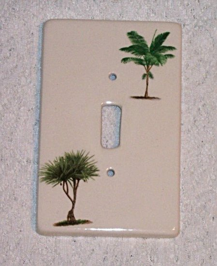 TROPICAL PALM TREE SINGLE CERAMIC SWITCHPLATE NEW
