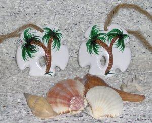 SAND DOLLAR PALM TREE ORNAMENT SET (2) Ceramic NEW