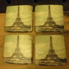 Four Distressed Stone EIFFEL TOWER Coasters with Cork Bottom
