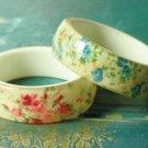 Blue Vintage Rose Chintz Enamel Bangle Bracelet. NEW!