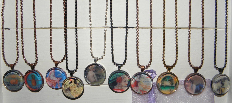 NEW! Ten Tile Paridise Collection Art Pendant Necklaces. Resale! Gifts!