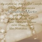 Vintage with Rosary Photo Baptism and Christening Invitations 5 x 8