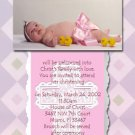 Lavender & Pink Cross Photo Baptism and Christening Invitations 5 x 8