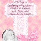 Elegant Cross in Pink Photo Baptism and Christening Invitations 5 x 8