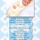 Blue & White Cross Photo Baptism and Christening Invitations 5 x 8