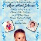 Classy 3 Photos Blue Photo Baptism and Christening Invitations 5 x 8