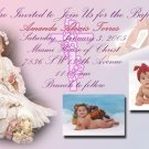 Pink  Multi-Photos Photo Baptism and Christening Invitations 5 x 8