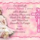Trendy Pink Edges Photo Baptism and Christening Invitations 5 x 8