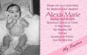 Swirly Pink Background Photo Baptism and Christening Invitations 5x8