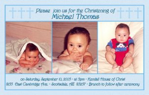 Three Photos in Blue Photo Baptism and Christening Invitations 5 x 8