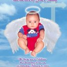 Angel Wings and Halo Photo Baptism and Christening Invitations 5 x 8