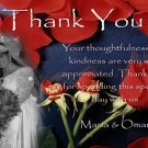 Red Roses Wedding Photo Thank You Card Classy