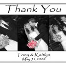 Wedding Photo Thank You Card Black/White Background with Three Photos