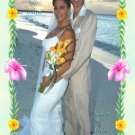 Hibiscus, Tropical Flowers Border Wedding Photo Thank You Card