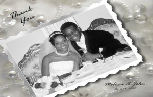 One Main Photo Pearls and Rhinestones Wedding Photo Thank You Card
