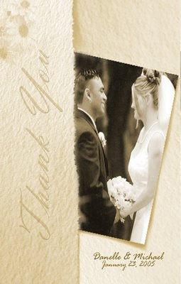 Wedding Photo Thank You Card Textured Cream Background