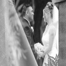 Sheer Overlay Look on Silver / Any Color Wedding Photo Thank You Card