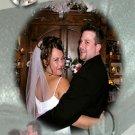 Wedding Rings Background Sheer Ribbons Wedding Photo Thank You Card