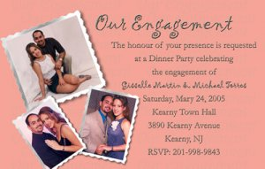 Custom Color with Pics Photo Engagement and Wedding Announcements 5x8