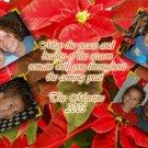 Poinsettia with Four Photos Family Custom Photo Christmas Cards 5 x 8