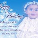 Unique Blue & White Christmas Tree Custom Photo Christmas Cards 5 x 8