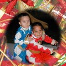 Ornaments and Bows Background Custom Photo Christmas Cards 5 x 8