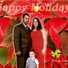 Poinsettia Background Family Photo Custom Photo Christmas Cards 5 x 8