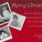 Modern Burgundy Red Photo Collage Custom Photo Christmas Cards 5 x 8