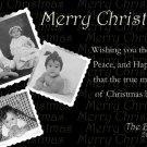 Modern Black & White Photo Collage Custom Photo Christmas Cards 5 x 8