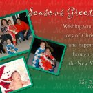 Merry Christmas Red and Green Custom Photo Christmas Cards 5 x 8
