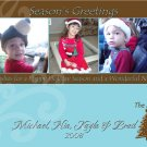 Modern Brown and Blue Three Frames Custom Photo Christmas Cards 5 x 8