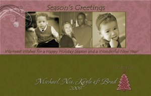 Damask Brown and Pink Three Frames Custom Photo Christmas Cards 5 x 8