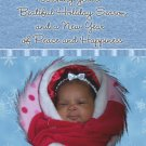 Modern Blue and Snowflakes Custom Photo Christmas Cards 5 x 8