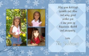 Trendy Three Photo and Snowflakes Custom Photo Christmas Cards 5 x 8