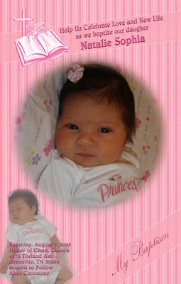Stripes and Pink 2 Pic Photo Baptism and Christening Invitations 5x8