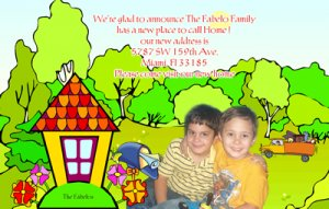 Cartoon Home Photo Moving Announcement Housewarming Party Invitations
